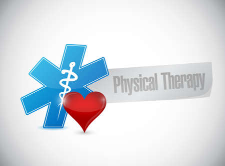 physical therapy medical symbol and heart isolated sign illustration design graphic Illustration