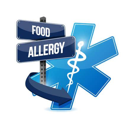 food poison: food allergy road sign illustration concept design graphic