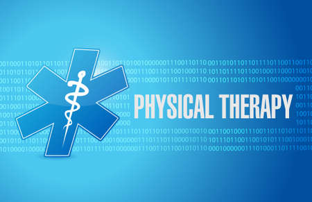 physical therapist: physical therapy medical symbol sign illustration design graphic Illustration