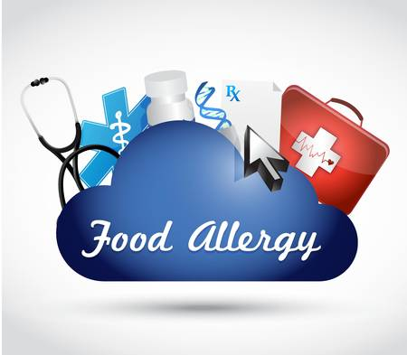allergic reactions: food allergy blue cloud sign concept illustration concept design graphic