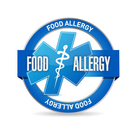 allergic reactions: food allergy seal sign illustration concept design graphic