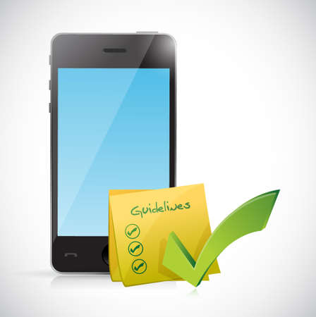 phone and guidelines check list illustration design graphic