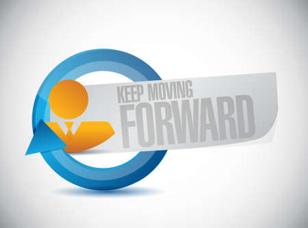 forwards: keep moving forward people cycle sign concept illustration design graphic Illustration