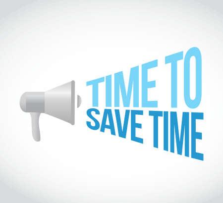 save time: time to save time loudspeaker text message illustration design Illustration