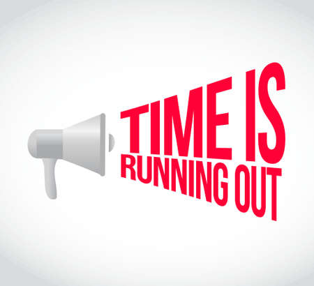 time out: time is running out loudspeaker text message illustration design