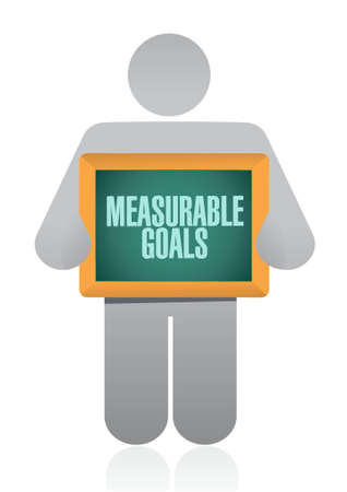 measurable: measurable goals holding sign concept illustration design graphic Illustration