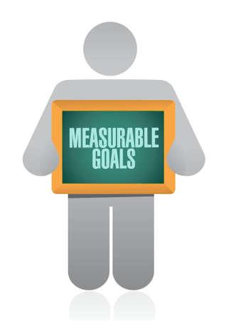 evaluating: measurable goals holding sign concept illustration design graphic Illustration