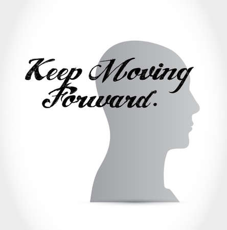 keep moving forward thinking brain sign concept illustration design graphic Illusztráció