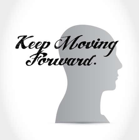 perseverance: keep moving forward thinking brain sign concept illustration design graphic Illustration