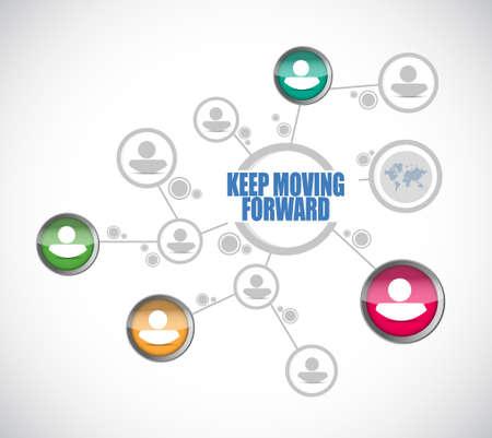 계속 앞으로 이동 사람들 다이어그램 기호 개념 일러스트 레이션 디자인 그래픽