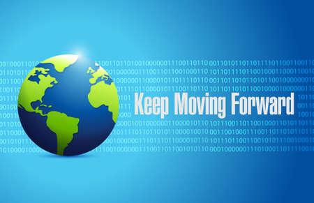 keep moving forward binary background sign concept illustration design graphic Ilustrace