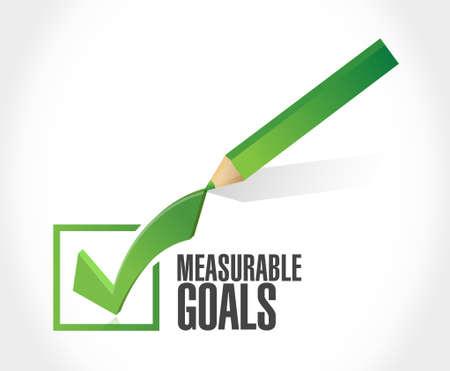 meetbare doelen vinkje begrip teken illustratie grafisch Stock Illustratie