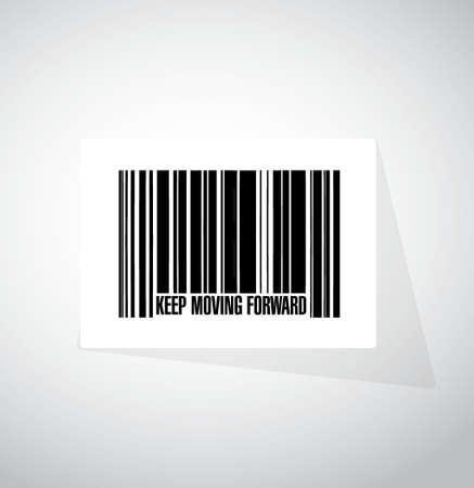 blijven bewegen naar voren barcode begrip teken illustratie grafisch Stock Illustratie