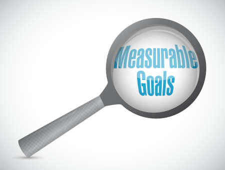 measurable: measurable goals magnify glass sign concept illustration design graphic Illustration
