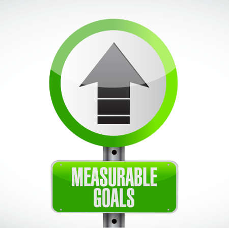 measurable goals road sign concept illustration design graphic Çizim
