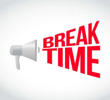 break time loudspeaker text message illustration design
