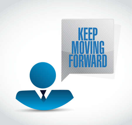 forwards: keep moving forward businessman sign concept illustration design graphic