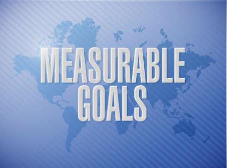 meetbare doelen wereldkaart teken concept illustratie grafisch Stock Illustratie