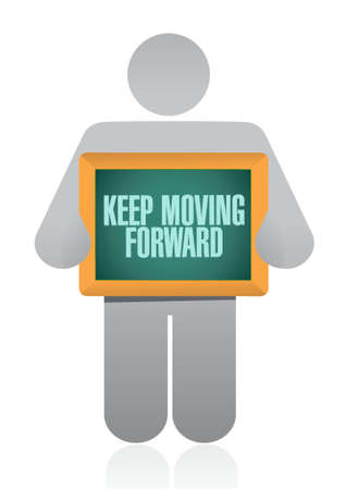 keep moving forward hanging sign concept illustration design graphic