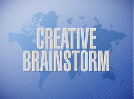 Creative Brainstorm world map sign concept illustration design graphic