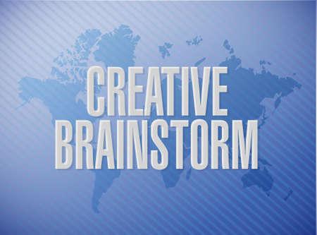 Creative Brainstorm world map sign concept illustration design graphic