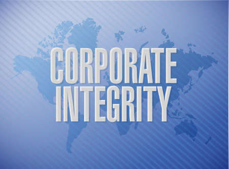 business ethics: Corporate integrity world map sign concept illustration design graphic