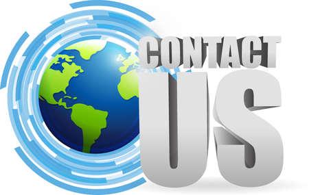 contact us globe technology illustration design graphic Illustration