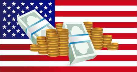 us coin: us flag and gold coin towers. illustration design graphics