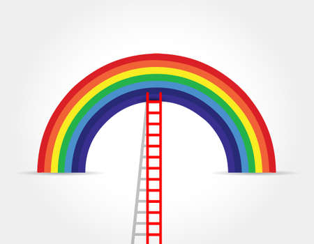 middle air: rainbow ladder illustration design graphic over white Illustration