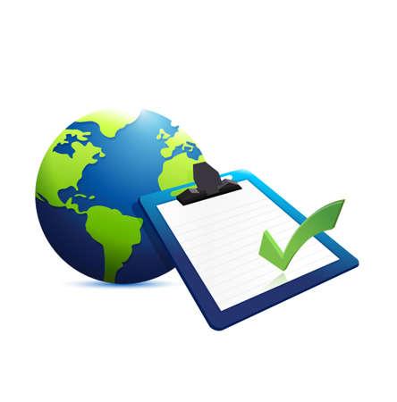 clip board: globe and clip board guarantee illustration design graphic Illustration