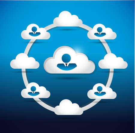 family discussion: cloud and people business network. illustration design graphic