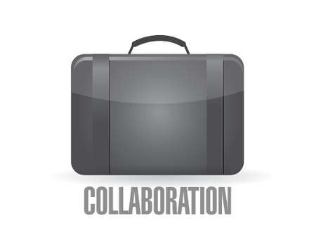 suit case: suit case with the word collaboration. illustration design graphic