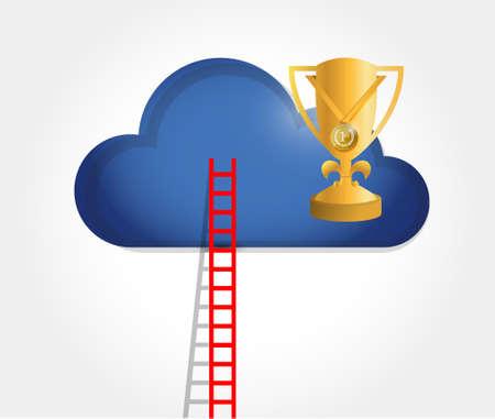 ladder to a trophy cloud. illustration design graphic