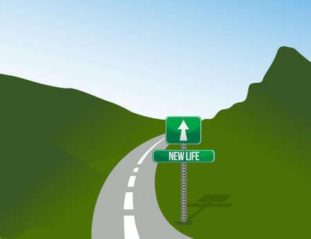 job opportunity: new life road sign and landscape illustration design Illustration