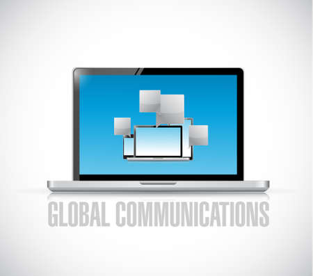 global communications concept with electronics illustration design graphic
