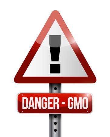 danger gmo warning road sign illustration design. isolated over white