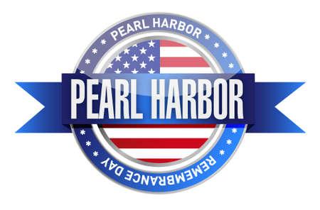 perlas: Pearl Harbor día de recuerdo sello sello ejemplo del diseño gráfico Vectores