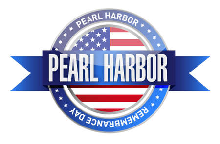 pearl harbor remembrance day seal stamp illustration design graphic Vettoriali