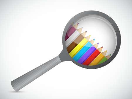 vergroot binnen glas en kleuren. afbeelding grafisch ontwerp