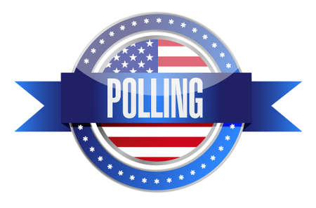 polling: us polling seal illustration design graphic over white