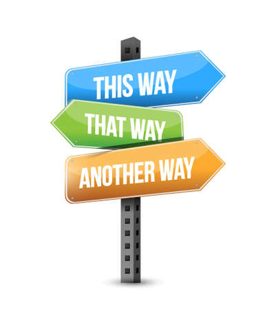 this way, that way, another way road sign illustration design graphic