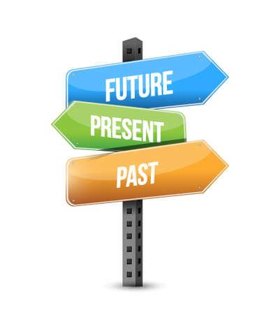 future, present, past road sign illustration design graphic