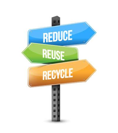 Reduce, Reuse, Recycle Straßenschild Illustration, Design, Grafik Standard-Bild - 63299316