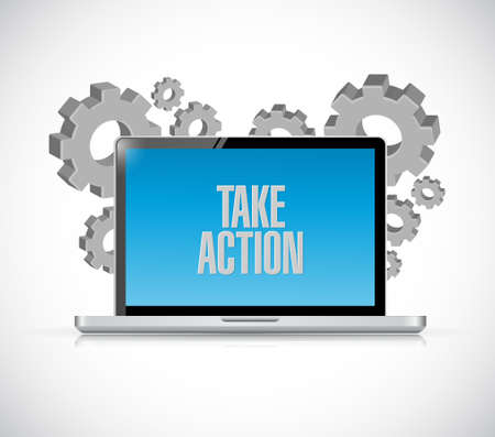 correspond: take action computer message illustration design over a white background Stock Photo