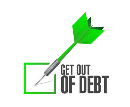 get out: get out of debt check dart sign concept illustration design graphic