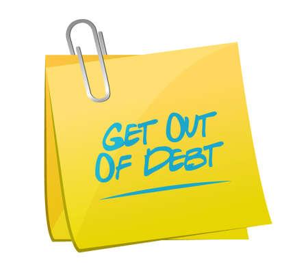 debt goals: get out of debt post sign concept illustration design graphic Stock Photo