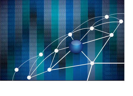 link network of connections. illustration design over a binary background