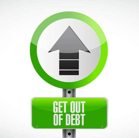 get out: get out of debt road sign concept illustration design graphic