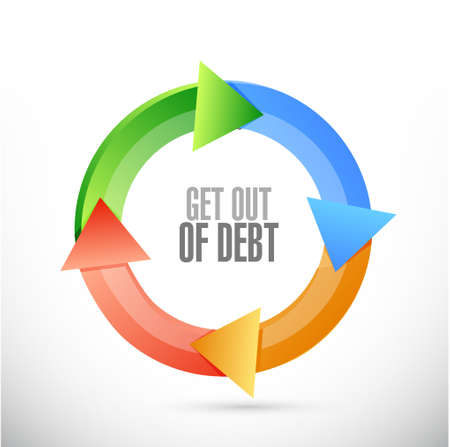 debt goals: get out of debt cycle sign concept illustration design graphic Stock Photo