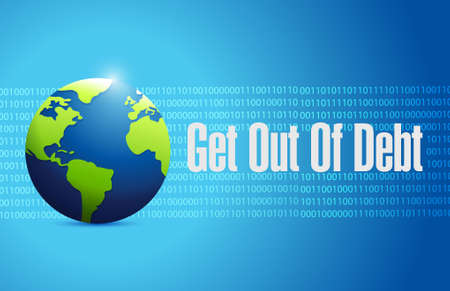 binary globe: get out of debt binary globe sign concept illustration design graphic